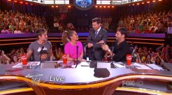 Keith Urban, Jennifer Lopez, Ryan Seacrest and Harry Connick, Jr. appear in a Season 13 episode of American Idol
