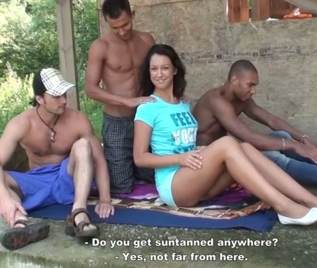 Petite Bodied Brunette Girl Is Getting Ass Fucked In Hardcore Gangbang Outdoor
