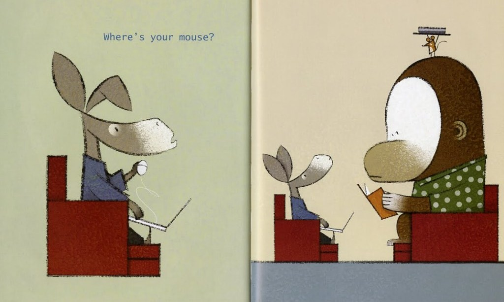 """A jackass sits on a chair with a computer. He is holding a wired mouse in his hand.A monkey, wearing a small hat that is covering a tiny mouse, sits across from him with a book. The jackass asks, """"Where is your mouse?"""""""