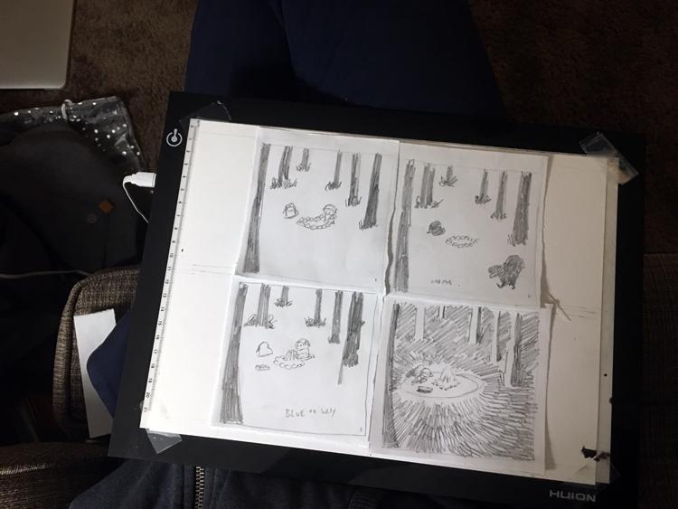 preview sketch of today's inktober/linktober strip