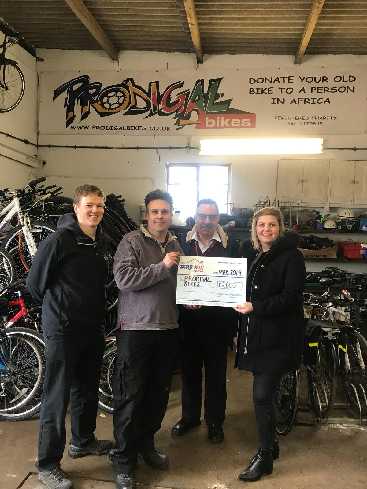 Prodigal bikes gets a helping hand from the Screwfix Foundation