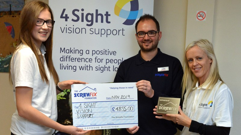 4Sight Vision Support receives a helping hand from The Screwfix Foundation