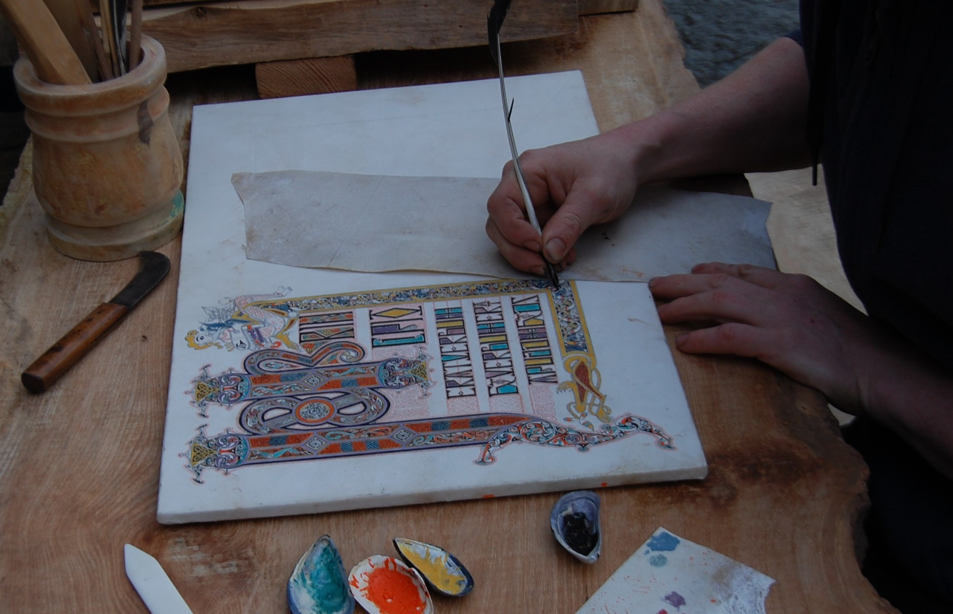 chatterbox4-filling in tree of life border with oak gall ink