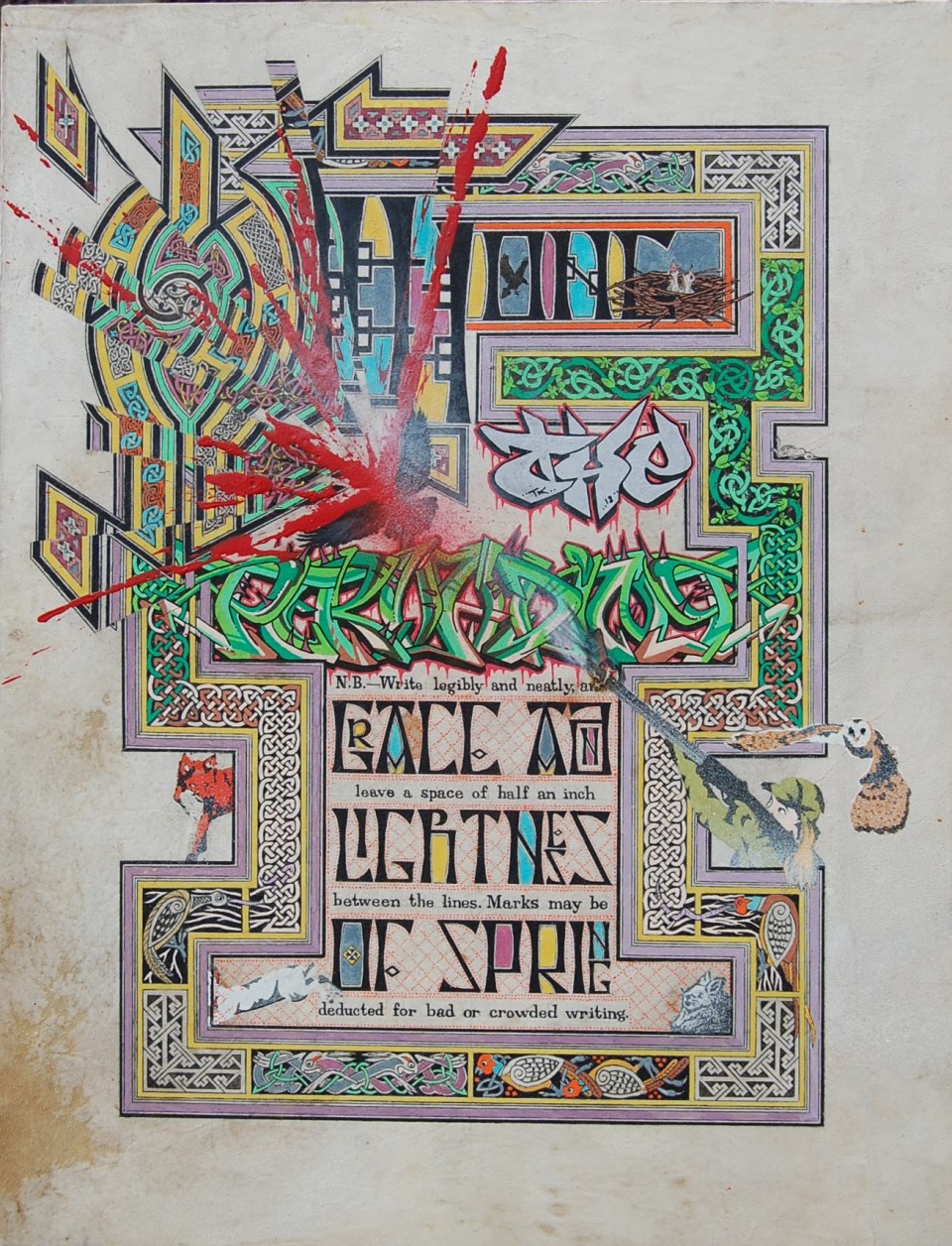 Image1. 'among the pervading grace'Illumination on parchment with graffiti.