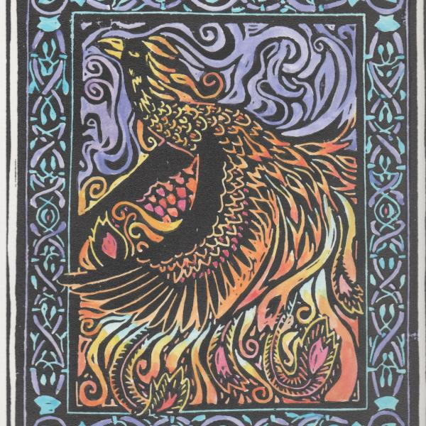 hand painted linoleum print of the phoenix.. Limited Edition by David Borden