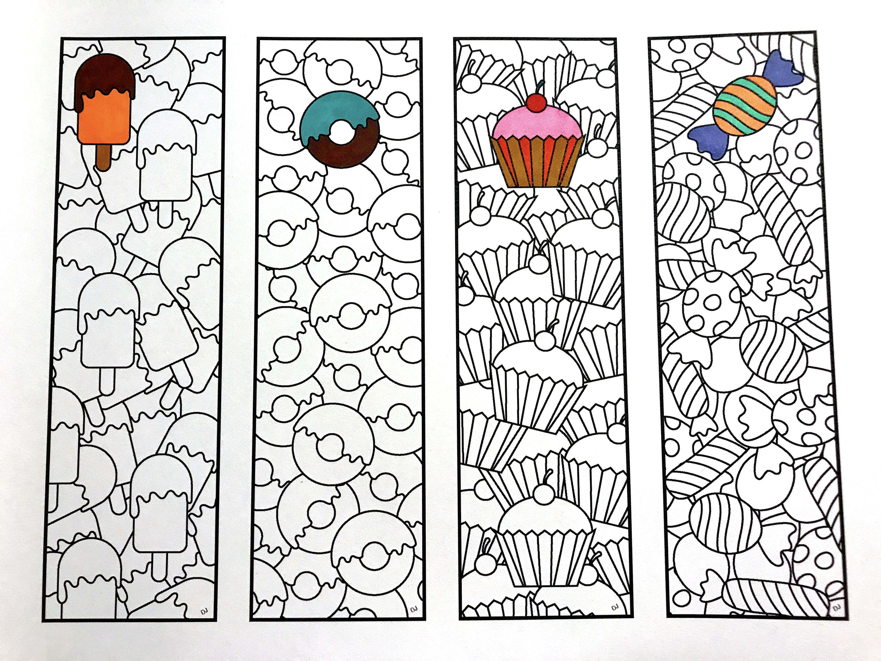 Sweets Bookmarks - PDF Zentangle Coloring Page - Scribble ...
