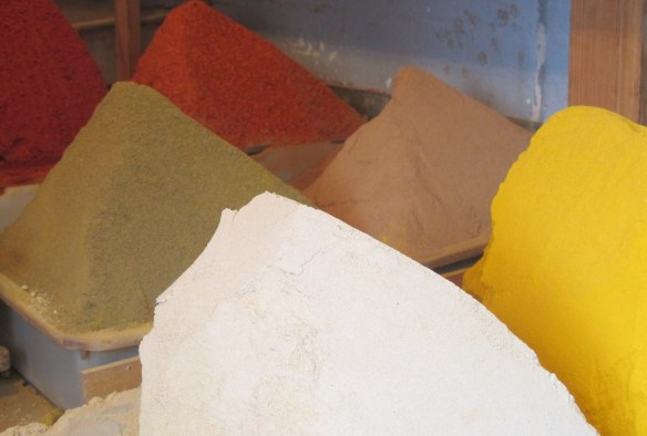 The classic colours of Morocco at a spice stall.