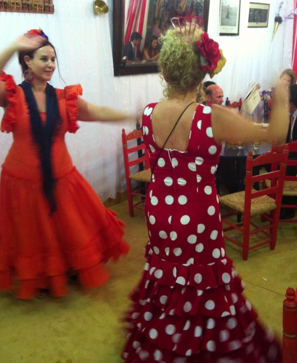 Dancing Sevillanas in a private caseta at the Feria.