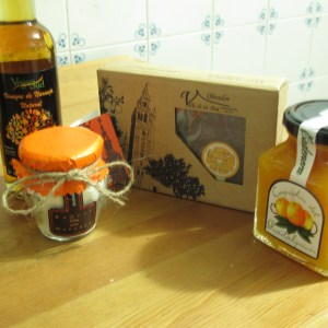 Our final Seville orangey haul: vinegar, icing sugar, membrillo (a paste/sweet), and jam.