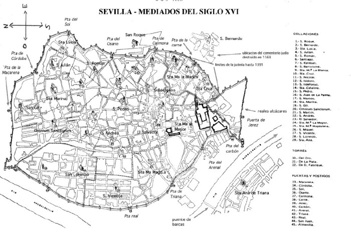 A map of Seville's city walls, showing the gates.