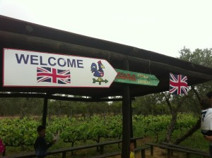 An English farm sign as you arrive at the Granja Escuela.