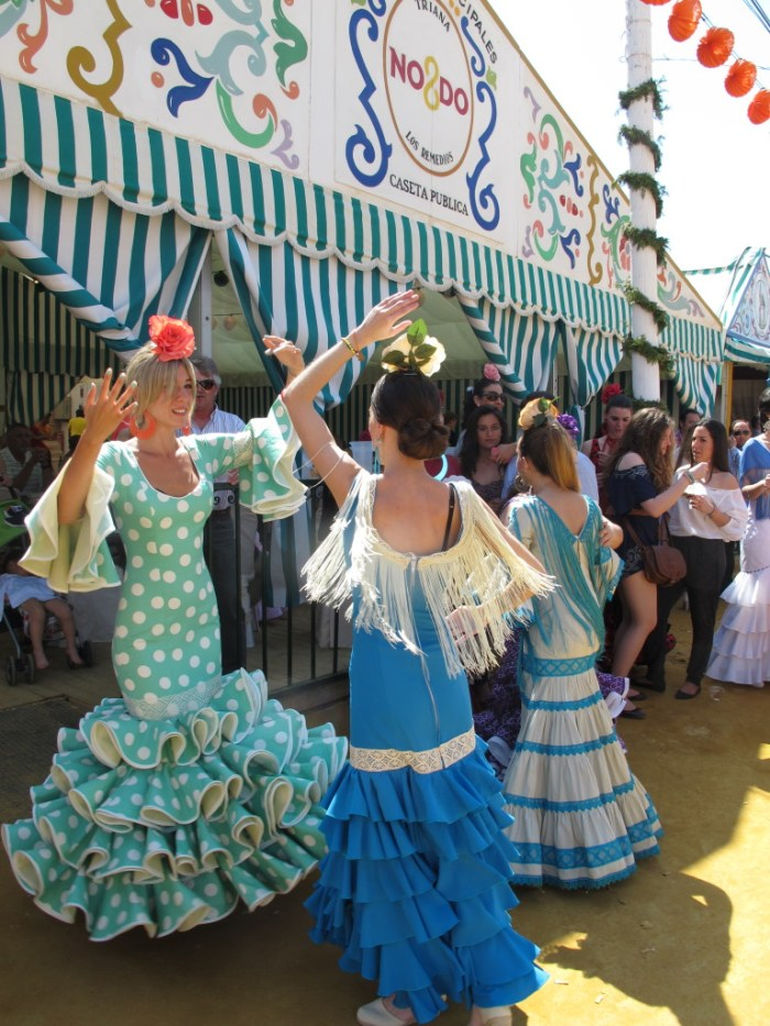 Dancing Sevillanas at the Feria, which is coming up next month.