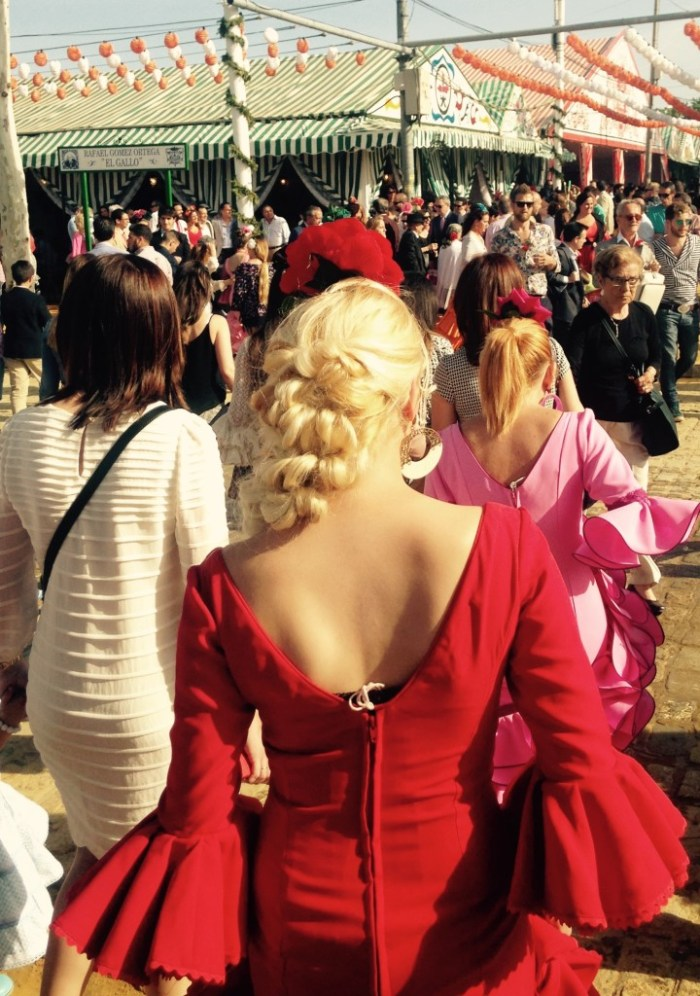 Complicated hair styles involving plaits, not unlike horses' tails, were big at the Feria this year.
