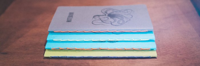 Hand-printed and bound paper notebooks by Lirandy.
