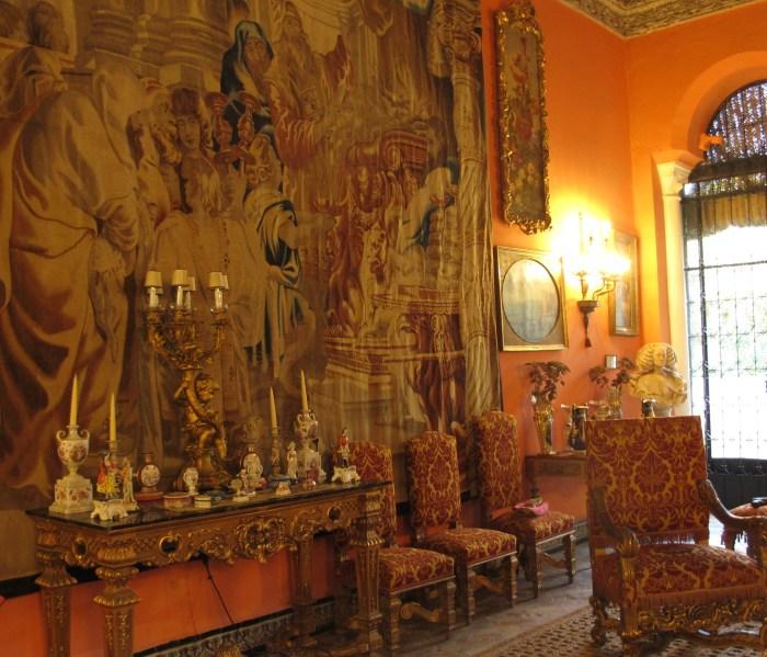 17th century tapestry and antique furniture in the Salon de la Gitana.
