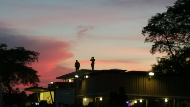 Guards standing on top of building at fourth of July fireworks