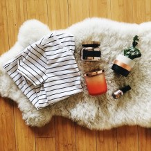 stripe shirt, fall candles, fake cactus, nail polish