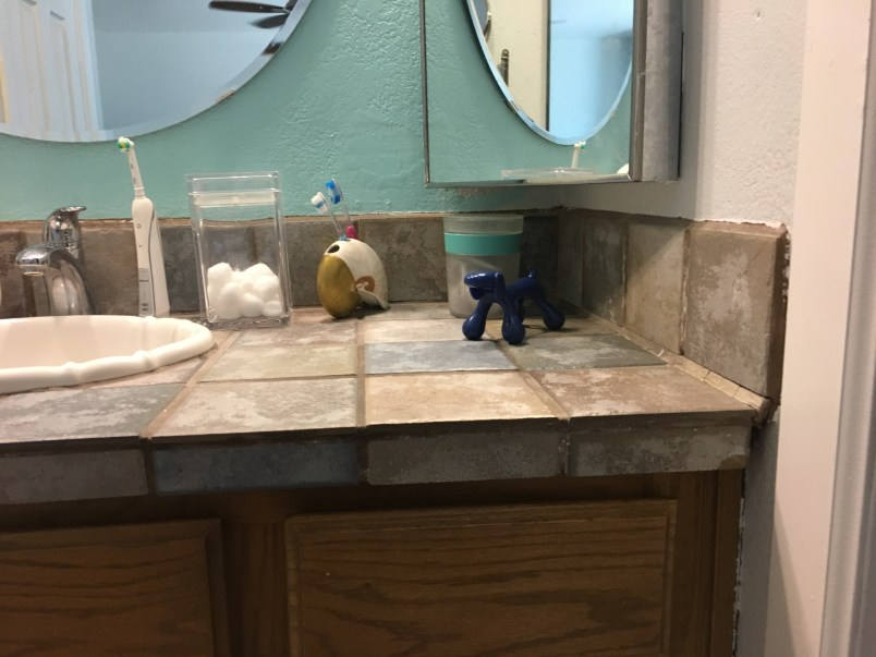 Before and After Bathroom Vanity Transformation - with Painted Tile ...