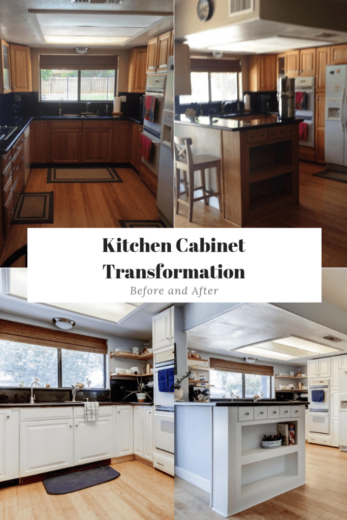 3 Steps to Paint Oak Kitchen Cabinets White: Before and ...