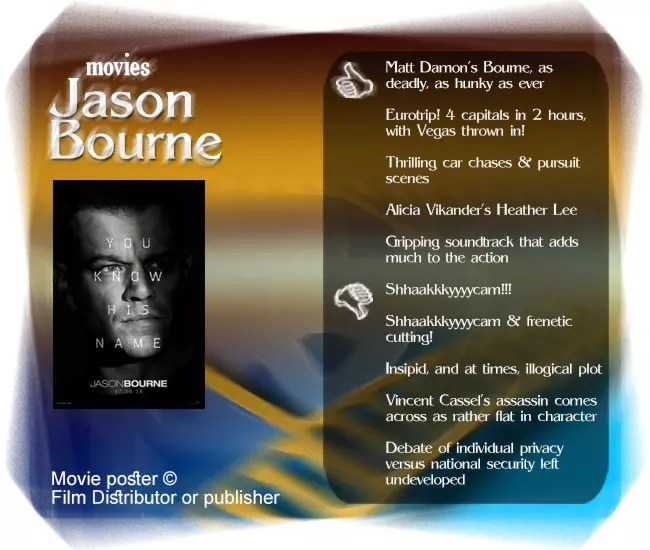 Everything you love about Jason Bourne is in this installment. Problem is, little else is added to his tragic saga.