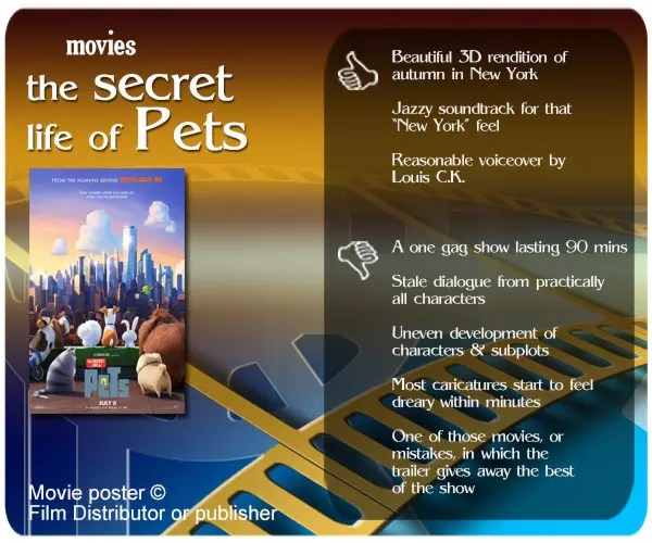 The Secret Life of Pets review. 3 thumbs up and 5 thumbs down.