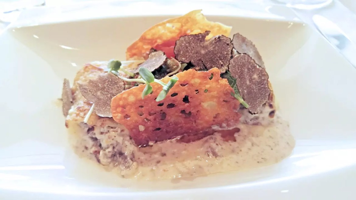 Braised Beef Cheek Cannelloni on Light Parmesan Velouté at Basilico Singapore.