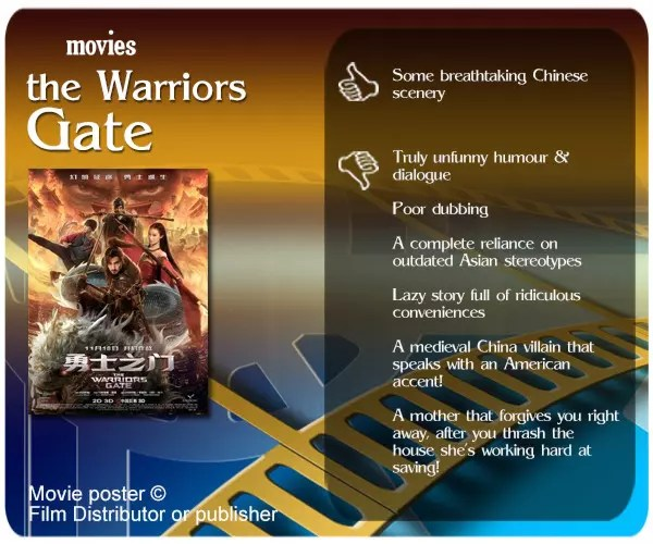 The Warriors Gate attempts to be a Karate Kid & Forbidden Kingdom in-between. What it is, in the end, is two hours of unbearable lame humour.