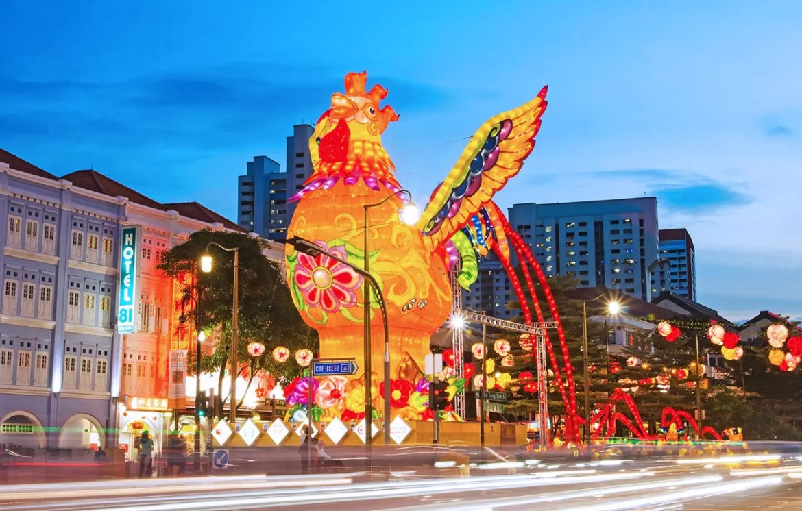 The showpiece of Chinese New Year 2017 light-up in Chinatown. It crows!