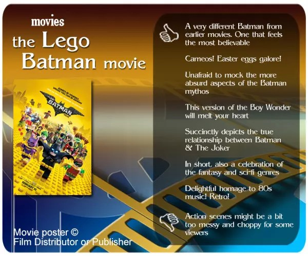IMO, The Lego Batman Movie is the greatest Batman movie ever. One that is both an homage and a parody to DC Comic's most enduring character.