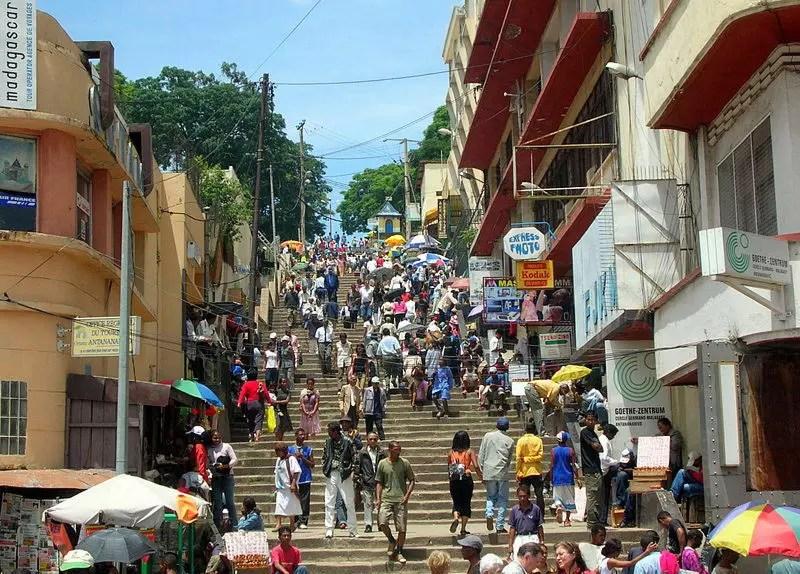 Street in Antananarivo, capital of Madagascar.