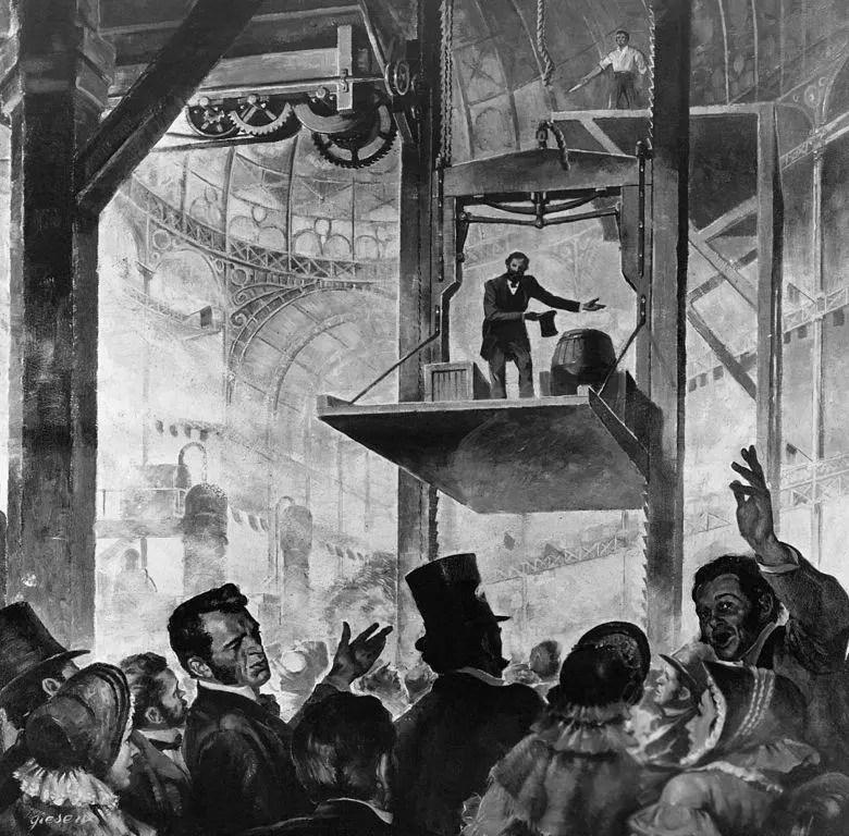 Historical elevator demonstration.