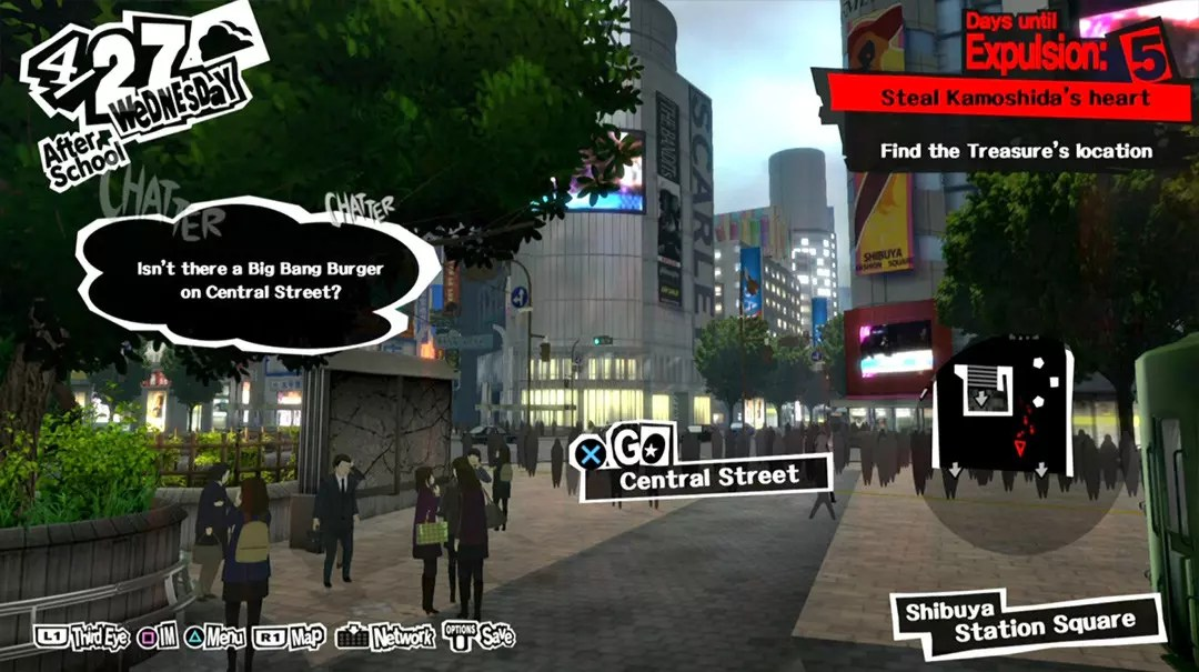 Persona 5 Screenshots: Shibuya Station Crossing