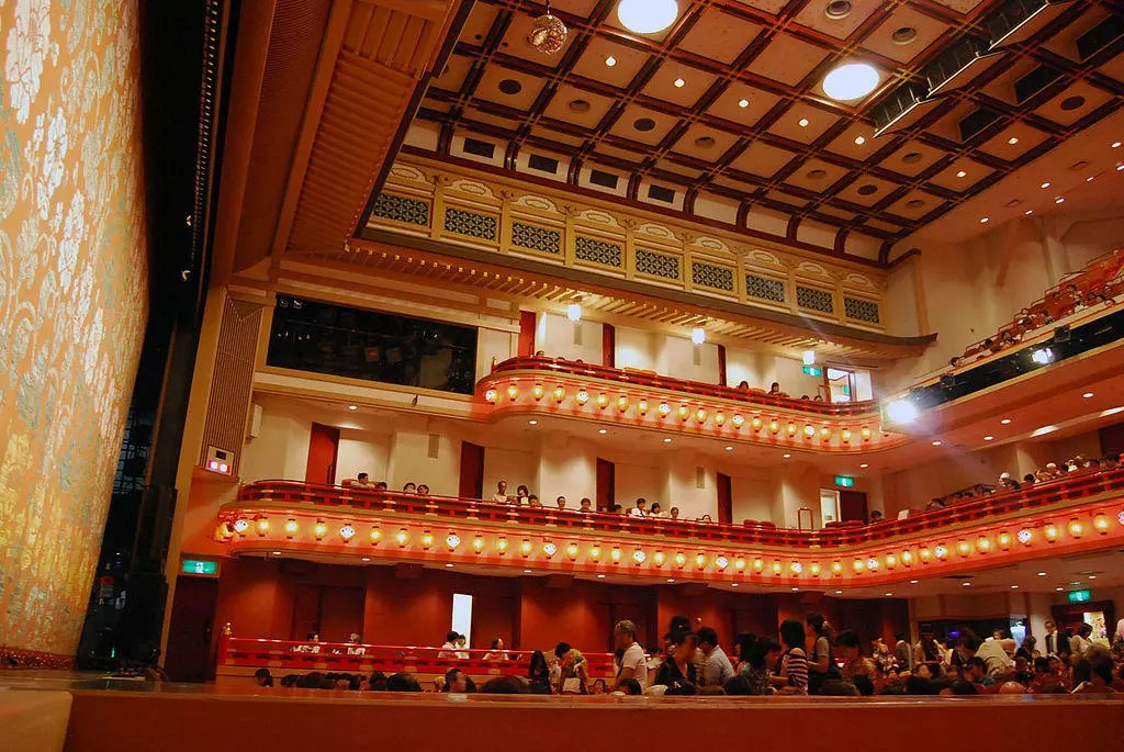Interior of a mdoern Kabuki performance hall. Kabuki is one of the greatest cultural products of the Edo Period.