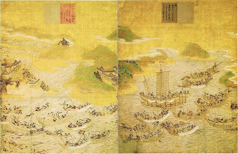 Historical painting of the Battle of Dan-no-Ura. As mentioned above, this naval battle was instrumental in the formation of Shogunates in Japanese history.