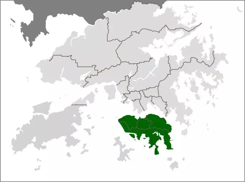 Map of Hong Kong Island.