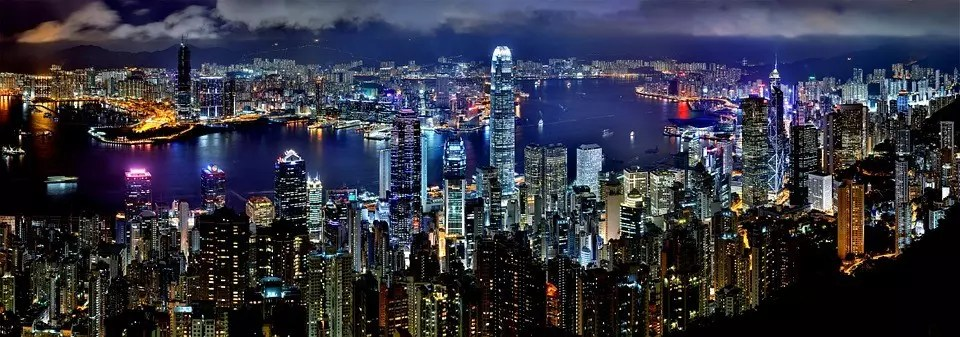 Hong Kong Evening View from Victoria Peak.
