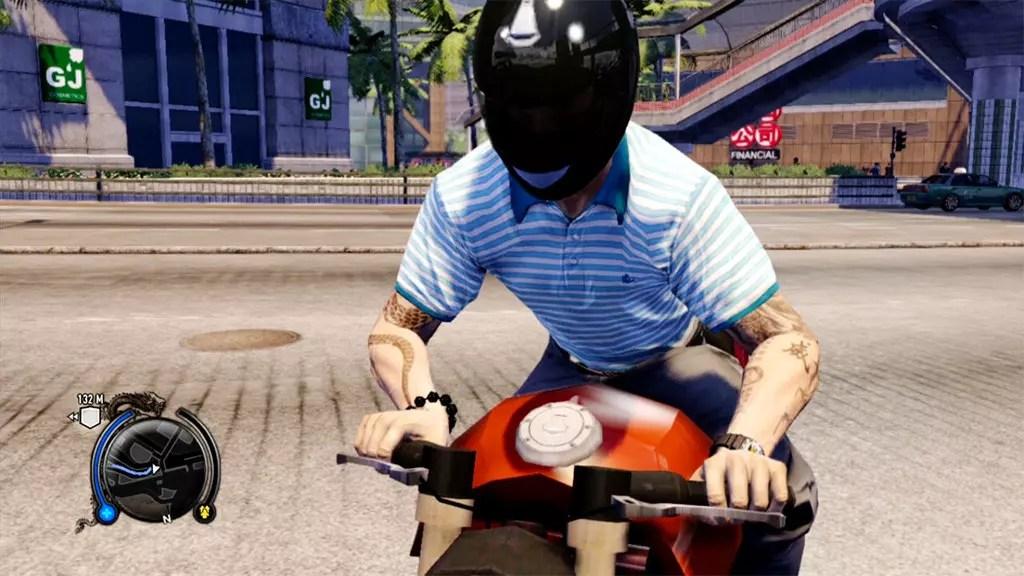 Sleeping Dogs Wei Shen on motorcycle.