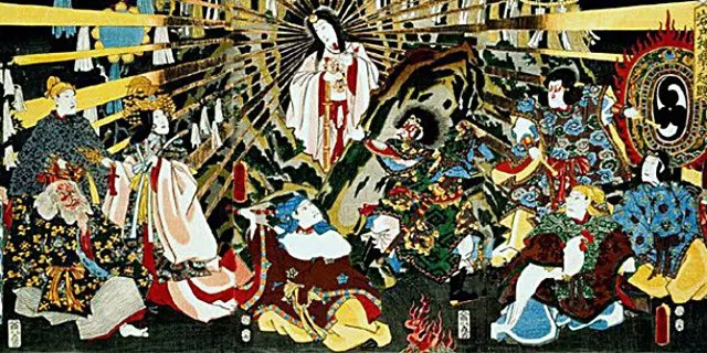 Sun Goddess Amaterasu emerging from hiding. One of the most important Shinto myths.