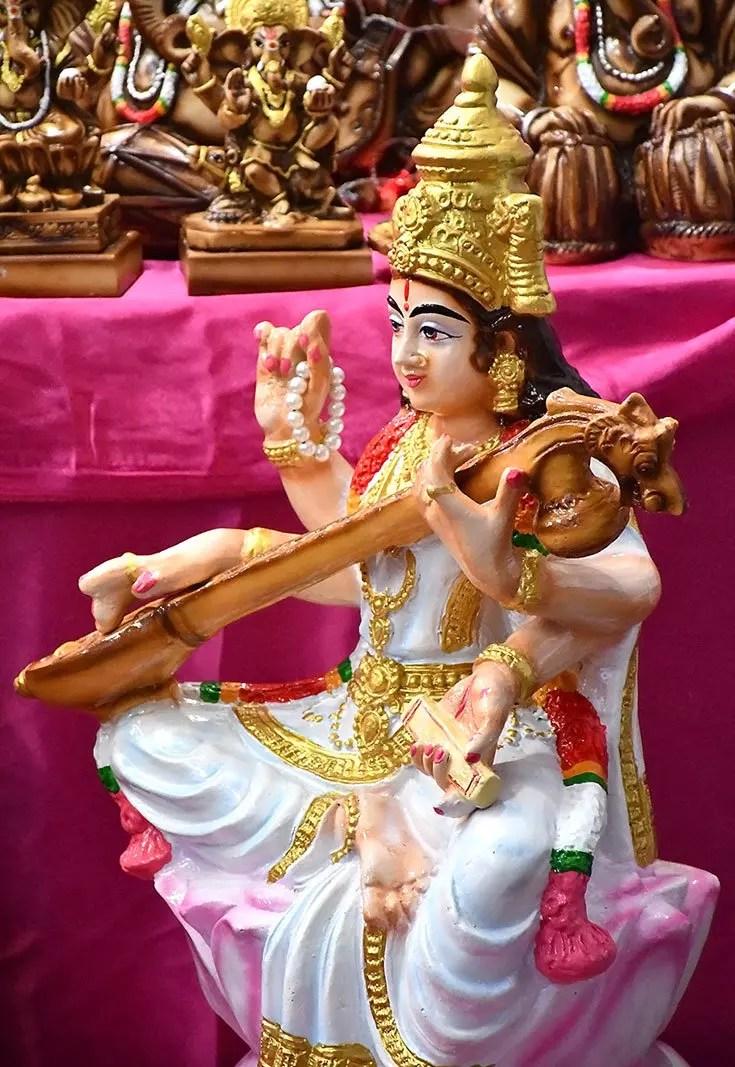 Statue of Saraswati on sale at Little India Deepavali festive market 2017, Singapore