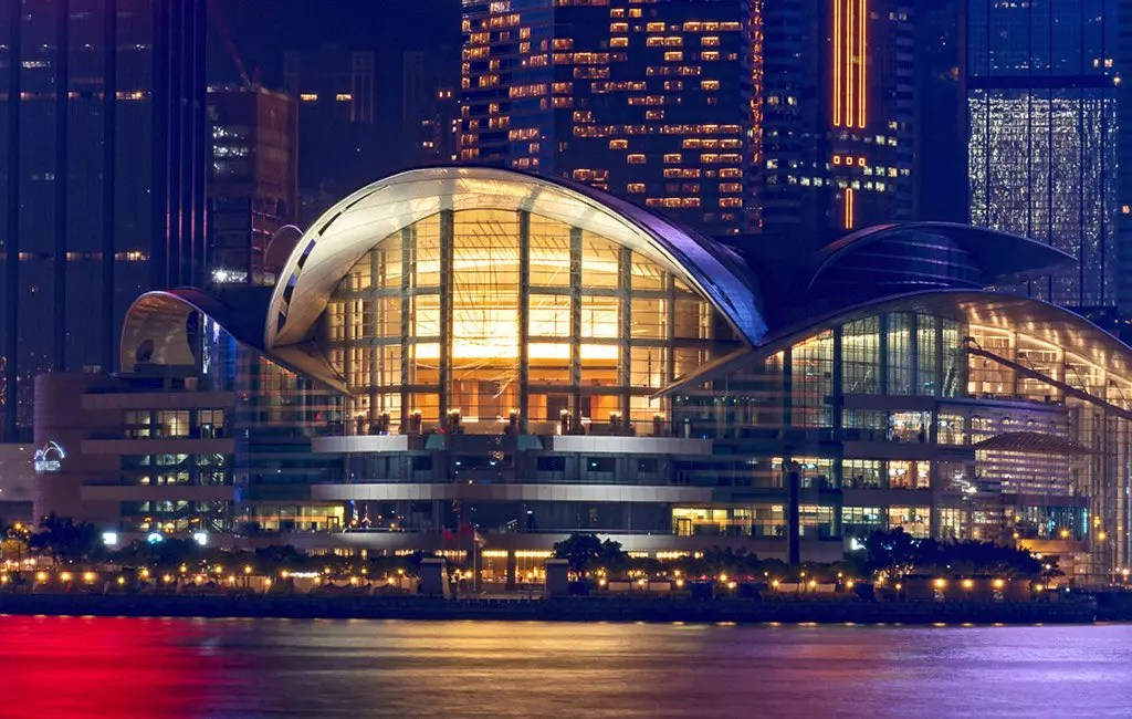 Hong Kong Convention and Exhibition Centre Evening Shot