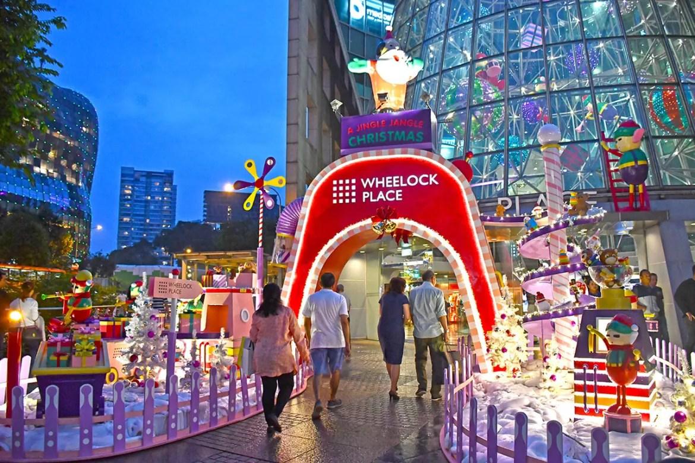 Wheelock Place 2017 Christmas light-up decorations.