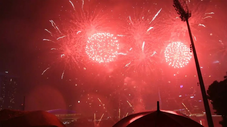 Singapore Marina Bay New Year 2018 Fireworks