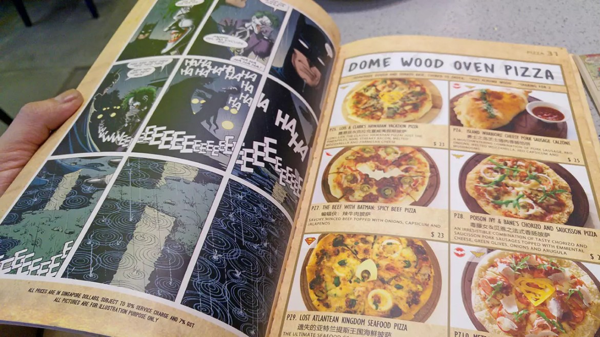DC Super Heroes Cafe - Takashimaya Pizza Menu