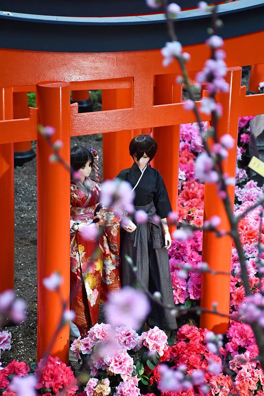 Samurai Couple under a torii.
