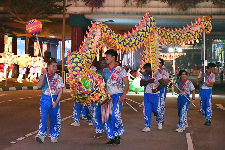 Chinese Dragon Dance at Chinatown, Singapore