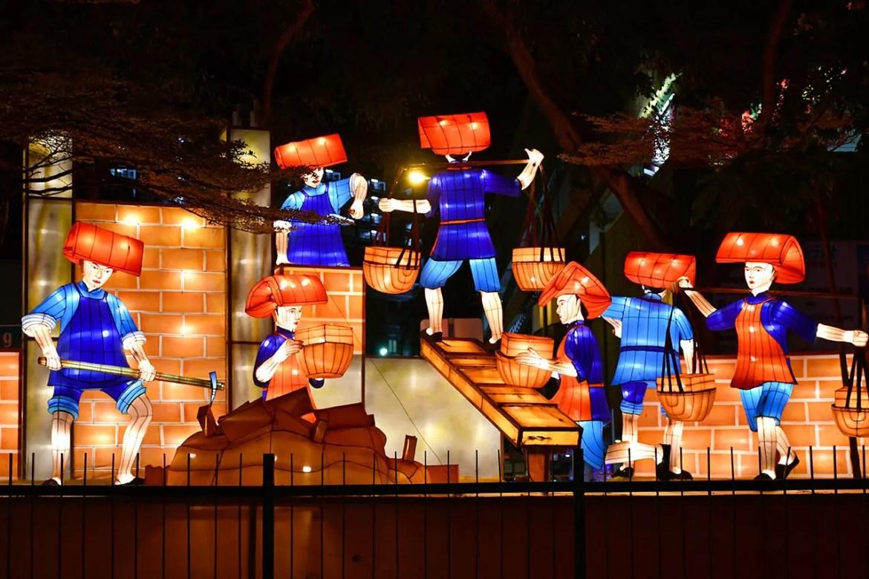 Illuminated Samsui Women at Chinatown, Singapore