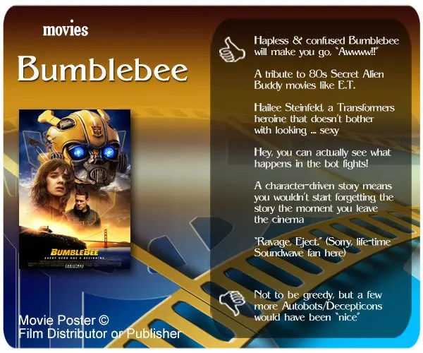 Bumblebee (2018 Film) Review: 6 thumbs-up and 1 thumbs-down