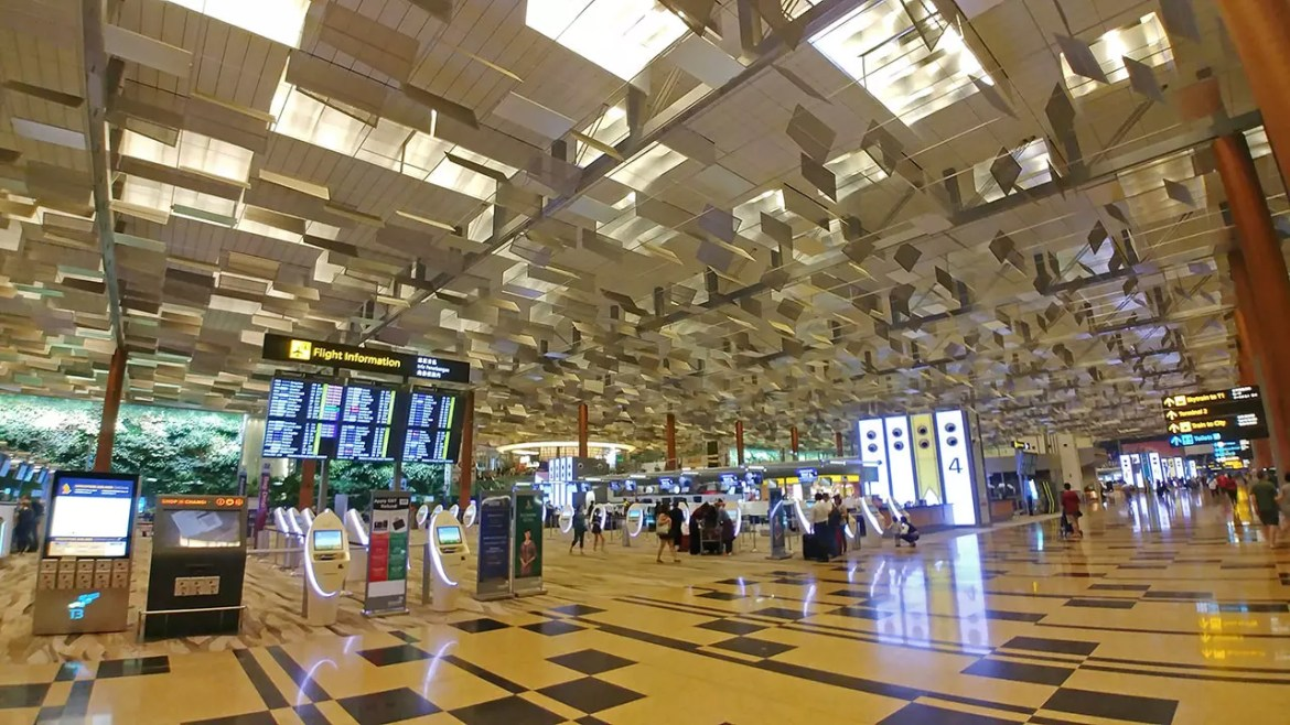 Singapore Changi Airport Terminal 3 Departure Hall.