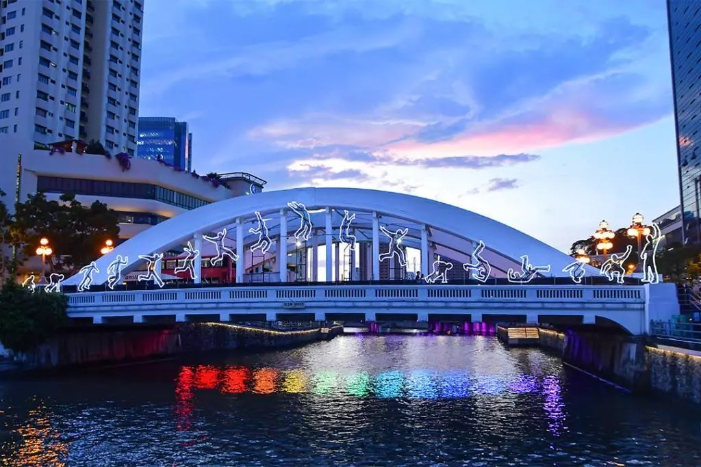 Elgin Bridge during i Light Singapore 2019.