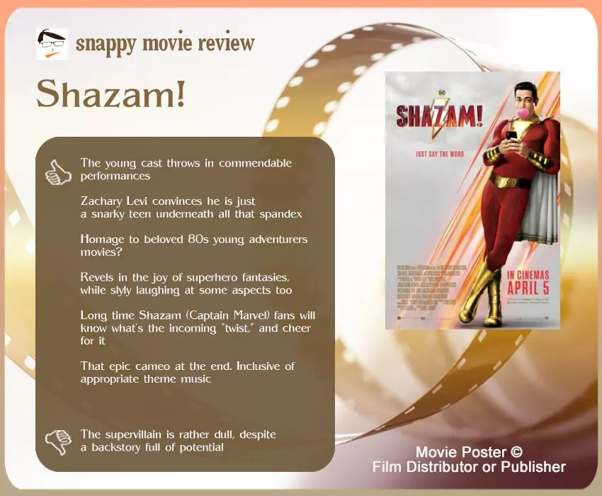 Shazam! Movie Review: 6 thumbs-up and 1 thumbs-down